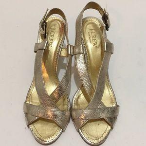 J Crew 7 leather Metalic Gold heel sandal